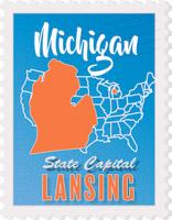 Fifty States Michigan Clipart Illustrations Michigan Graphics - Michigan state usa map