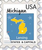 Fifty States Michigan Clipart Illustrations Michigan Graphics