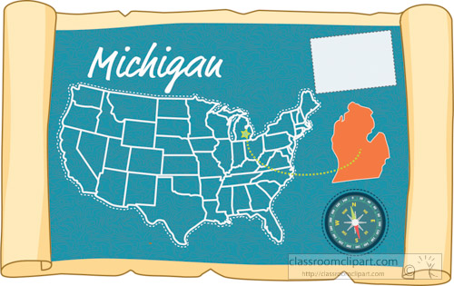 Clipart - scrolled-usa-map-showing-michigan-state-map-flag-clipart ...
