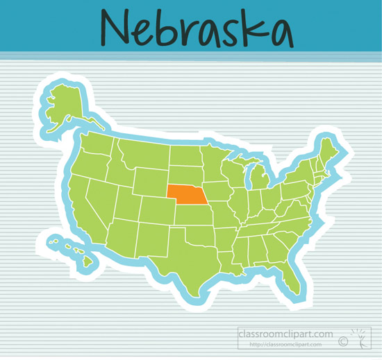 Nebraska State Clipart Us Map State Nebraska Square Clipart Image - Us-map-nebraska-state