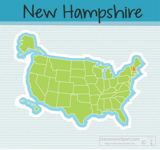 Clipart Us Map State New Hampshire Square Clipart Image