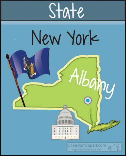 New York  Newyorkstatemapcapitalflag  Classroom Clipart