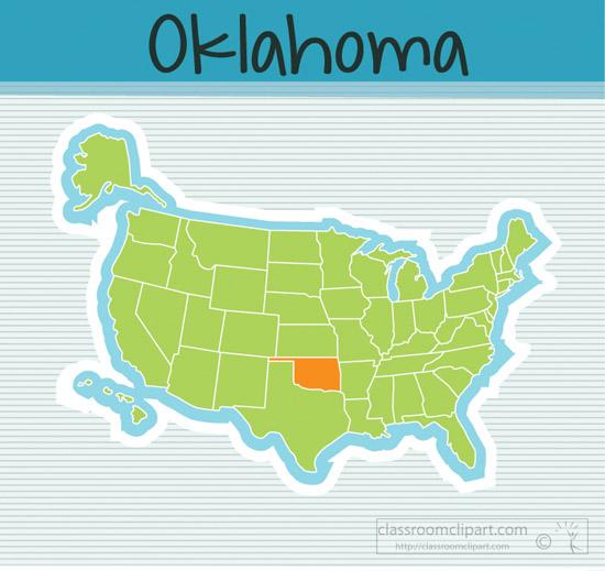 Clipart Usmapstateoklahomasquareclipartimage Classroom - Oklahoma in us map