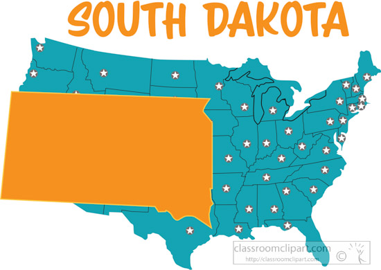 Usa Map Showing South Dakota State Map Flag Clipart Size 153 Kb