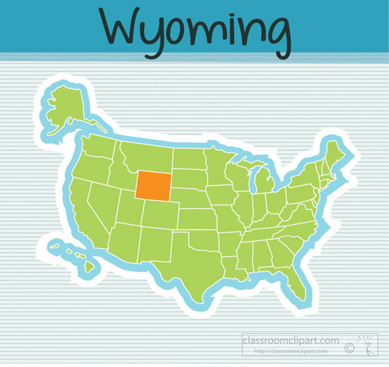Wyoming State Clipart Us Map State Wyoming Square Clipart Image - Wyoming-us-map