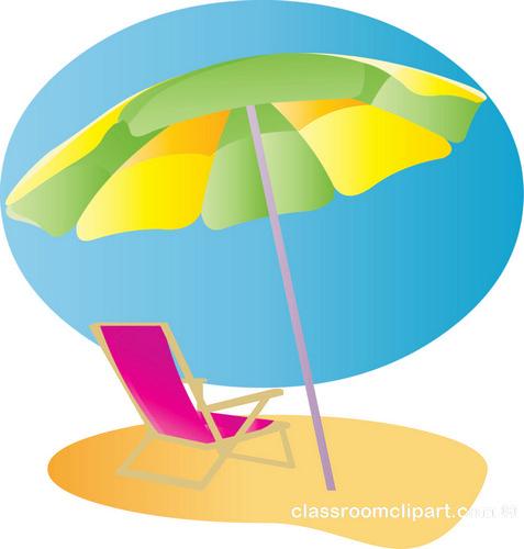 Summer beach chair umbrella 2 classroom clipart
