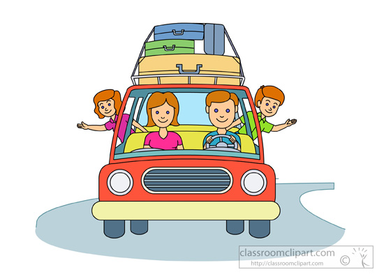 Summer : family-summer-vacation-traveling-in-car : Classroom Clipart