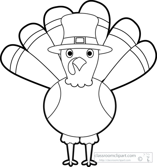 Thanksgiving Turkey Cartoon Black White Outline Clipart Size 634 Kb From