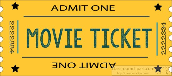 Admit One Movie Ticket Clip Art Theatre : movie - ticket -yellow ...