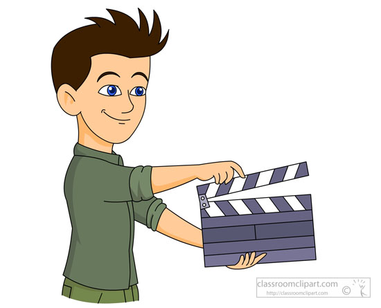 Theatre Clipart - student-with-a-movie-clap-board-clipart ...