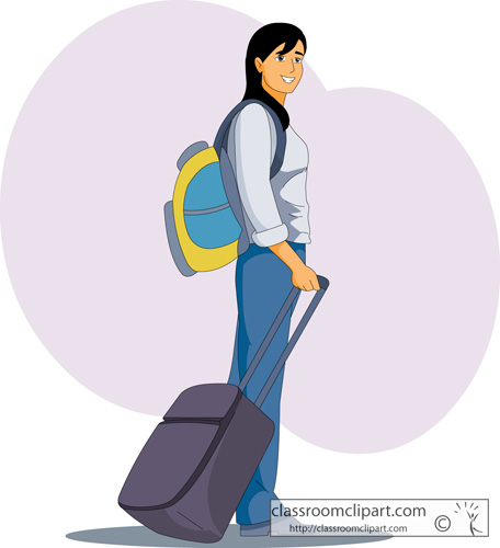 Travel : girl_with_backpack_suitcase : Classroom Clipart
