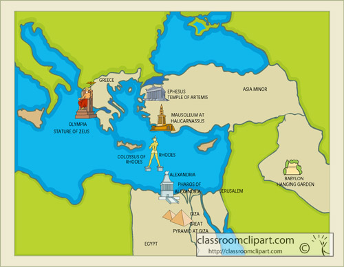 7 wonders of the ancient world map