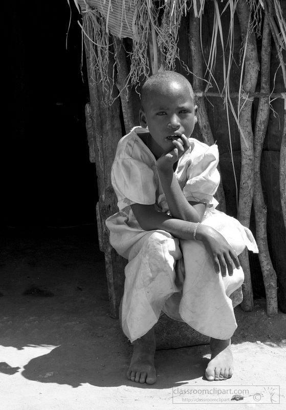 oung-girl-outside-of-hut-in-Africa-black-and-white-picture-2960A.jpg